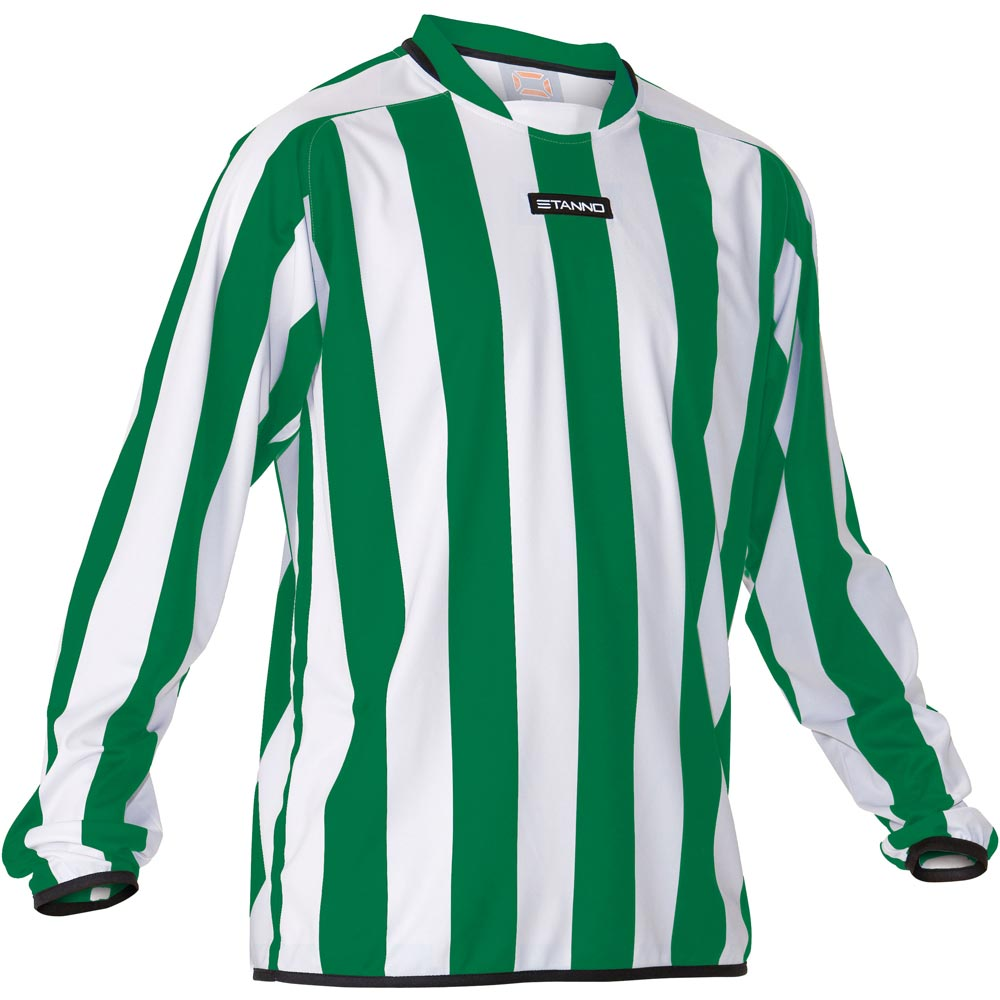 Green And White Vertical Striped Polo Shirts