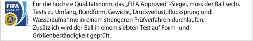 Dieser Ball ist FIFA Approved.