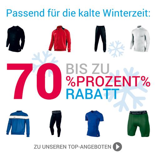 Winterspezial: Funktionsunterwäsche und viele Jako-Artikel bis zu 70% günstiger! Nur solange der Vorrat reicht.