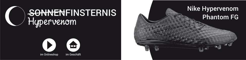Die Nike Hypervenom Phantom FG Nockenfußballschuhe in schwarz