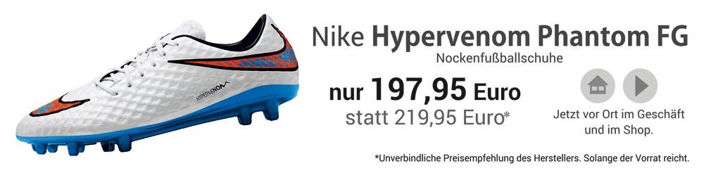 Die Nike Hypervenom Phantom FG Nockenfußballschuhe in weiß