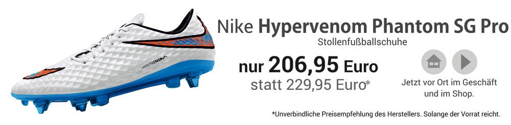 Die Nike Hypervenom Phantom SG Pro Stollenfußballschuhe in weiß