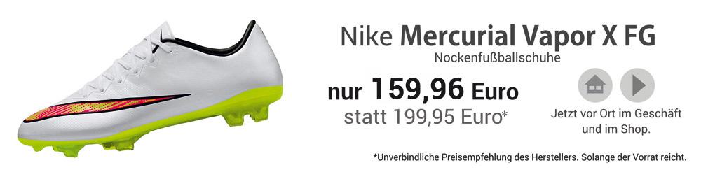 Die Nike Mercurial Vapor X FG Nockenfußballschuhe in weiß