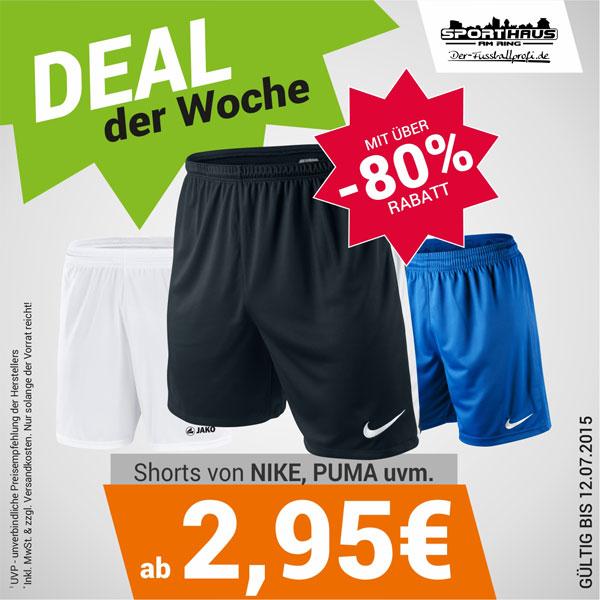 Deal der Woche - Spielershorts von Nike, Puma, Jako und Stanno zum Schnäppchenpreis - nur bis 12.07.2015