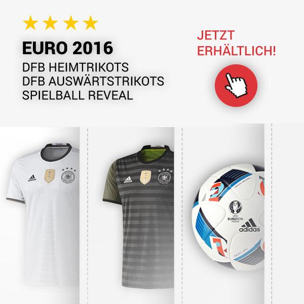 Jetzt im Vorverkauf: Adidas Deutschland Heimtrikots, Auswärtstrikots und der OMB Spielball Reveal zur Euro 2016
