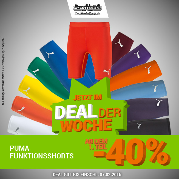 Deal der Woche - Puma Funktionsshorts mit 40 Prozent Rabatt - nur bis 07.02.2016