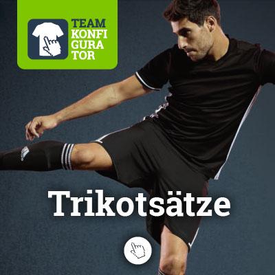 Trikotsätze von Nike, Adidas, Puma, und Jako