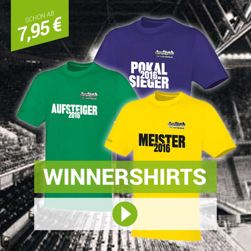 Winnershirts: Aufsteiger-Shirts, Meister-Shirts, Pokalsieger-Shirts - schon ab 7,95 €