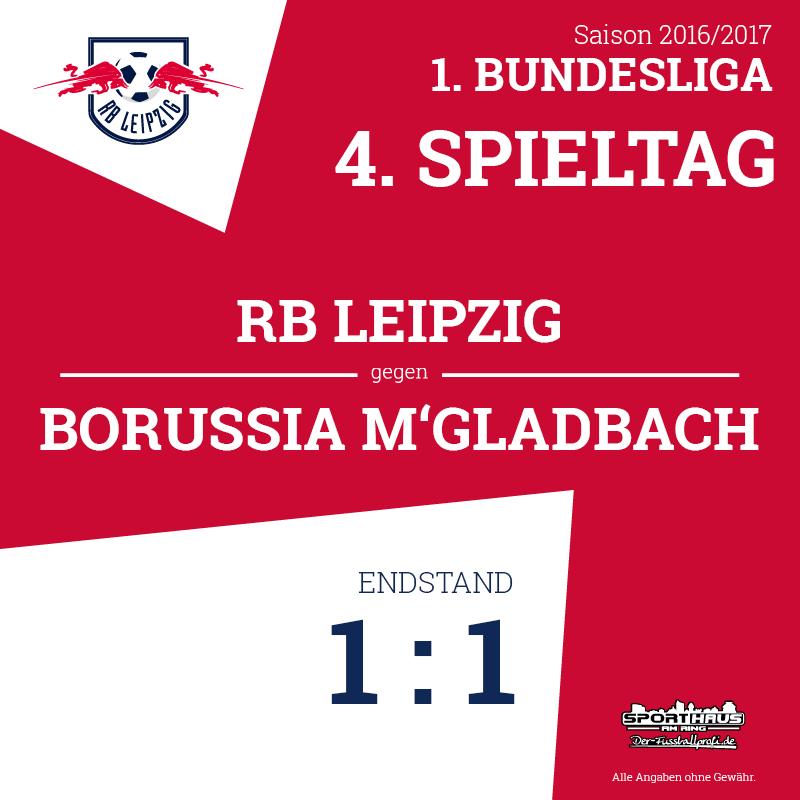 Endstand - RB Leipzig gegen Borussia Mönchengladbach 1:1